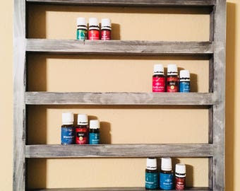 Essential Oil Shelf, nail polish shelf, storage, display, holds 52 (15ml bottles), floating, rustic, distressed, nicknacks, geometric