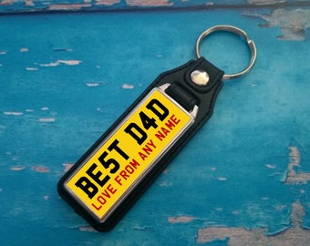 Personalised Silver Plated Keyring - Key Ring - Key Chain - BEST DAD - Add your name - Great Gift - Yellow
