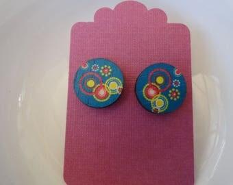 Printed Wood Round Stud Earrings
