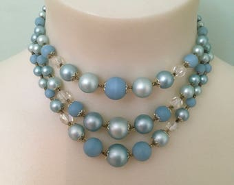 Vintage 1950s Baby Blue Beaded Necklace