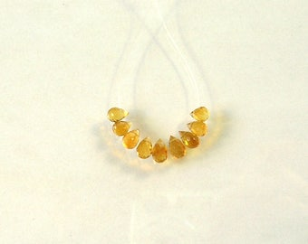 Madeira citrine faceted drop briolette bead AAA+ 5-6.5mm 9pcs