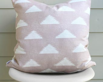 "22"" x 22"" Blush Triangle Print Throw Pillow Cover - Lightweight Canvas Designer Fabric, COVER ONLY"