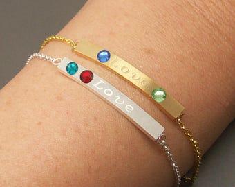 Love Bar Bracelet, Love Bracelet, Message Bracelet, Bar Bracelet, Birthstone Bracelet, Birthday Bracelet,  Birthstone Jewelry NB674
