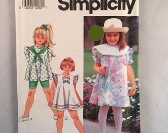 Simplicity Pattern Girl's Dress or Top with Bicycle Shorts 7726 Uncut Size BB 5-6x 1992 Vintage