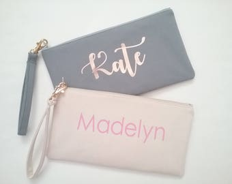 Personalized Wristlet Clutch - Personalized Bridesmaid Clutch - Cell Phone Clutch - Personalized Canvas Purse - Personalized Name Clutch
