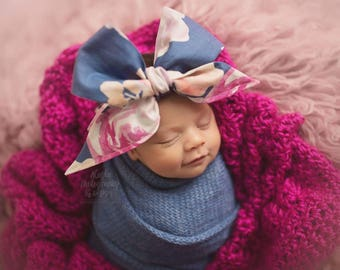 ROYAL BLUE FLORAL Gorgeous Wrap- headwrap; fabric head wrap; floral head wrap; boho; newborn headband; baby headband; toddler bow