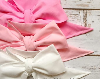 Gorgeous Wrap Trio (3 Gorgeous Wraps)- Petal Pink, Pink & Blanc Gorgeous Wraps; headwraps; fabric head wraps; bows