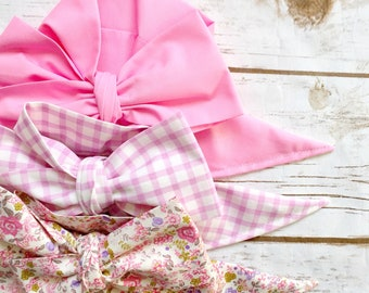 Gorgeous Wrap Trio (3 Gorgeous Wraps)- Petal Pink, Vintage Gingham & Blush Bloom Gorgeous Wraps; headwraps; fabric head wraps; bows