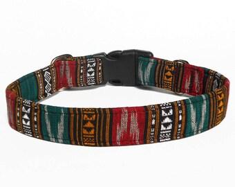 Boho Christmas tribal  ikat dog collar/ Handwoven Tribal fall dog collar/ Indian tribal dog collar