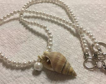 Sea Shell Simulated Pearl Necklace