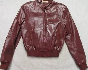 Vintage Tannery Burgundy Leather Bomber Jacket 5/6