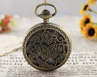 Antique vintage style Butterfly pocket watch|Chain|Necklace