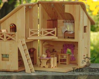 Wooden dollhouse miniature dollhouse Waldorf doll house Montessori toy doll house furniture dollhouse miniatures furniture