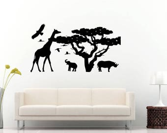 African Safari Africa Animal Kingdom Tree Jungle Birds Giraffe Nature Wall Sticker Decal Vinyl Mural Decor Art L2282