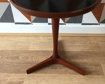 Hans C Anderson Danish Mid Century circular table with black laminate inset top