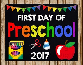 "INSTANT DOWNLOAD- First Day of Preschool Sign- School Chalkboard sign- School Digital Sign-School Photography Prop-8"" x 10"" image-Digital"