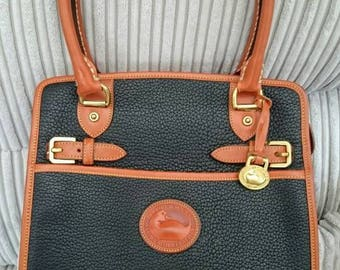 Dooney and Bourke AWL R213 Buckle Shopper in navy or black and tan vintage Like New condition from UK