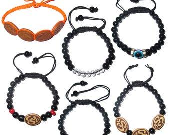 Beaded adjustable free size glass beads bracelets, evil eye bracelets and om bracelets (pack of 6 beaded bracelets as per picture)