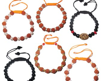 Beaded adjustable free size rudraksha bracelets, glass beads bracelets and om bracelets (pack of 6 beaded bracelets as per picture)