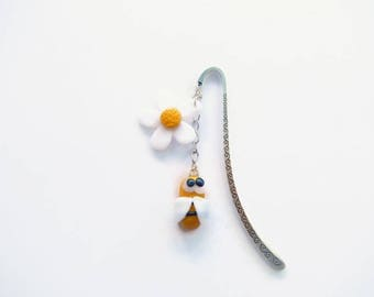 Bee and flower bookmark polymer clay spring