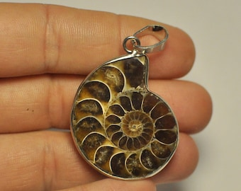 Natural Split Ammonite Fossil Specimen Shell Healing Madagascar Pendant with bail 36x32x9 mm. 65.95 Cts.