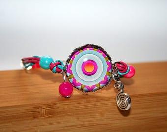 Bracelet child Mandala psychedelic purple, fuchsia and blue