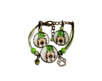 Child Bracelet Duo and lucky dog earrings