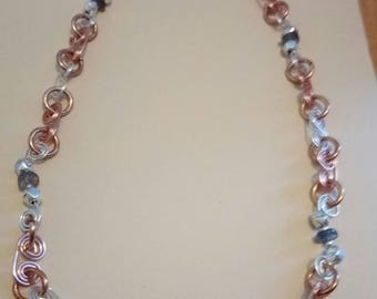 60 off Handmade Sterling Silver, Turquoise and Copper Swirl link necklace