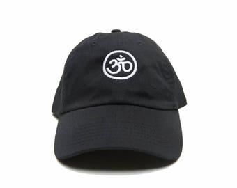 Om Symbol Dad Hat, Om Symbol Baseball Cap, Yoga Cap, Embroidered Baseball Cap, Adjustable Strap Back Baseball Cap, Low Profile, Black