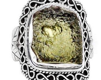 Moldavite 925 Silver Ring Jewelry s.7