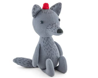 "Stuffed Wolf animal. Plush wolf. Grey wolf. Soft toy wolf, coyote named ""Henry"". Softy wolf with cute red cap, hat. Kindly sea wolf."