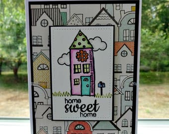 Home Sweet Home Card, New Home, Housewarming Card, Congratulations Congrats Greeting, Family Home, All Occasion, Blank Stamped Card