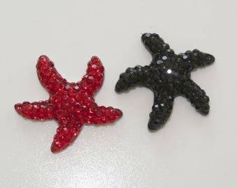 Cabochons à coller étoile de mer (1 rouge + 1 noir)