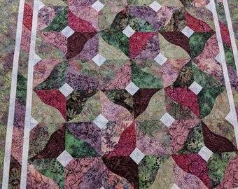 Lap-size Quilt, Batik Quilt, Handmade Quilt