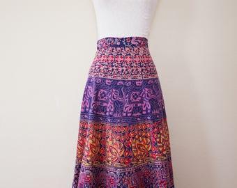 Vintage 1960's Indian Cotton Block Print  Maxi Wrap Skirt, One Size