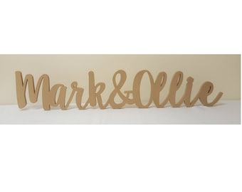 Personalised custom wedding names & freestanding wooden letters sign