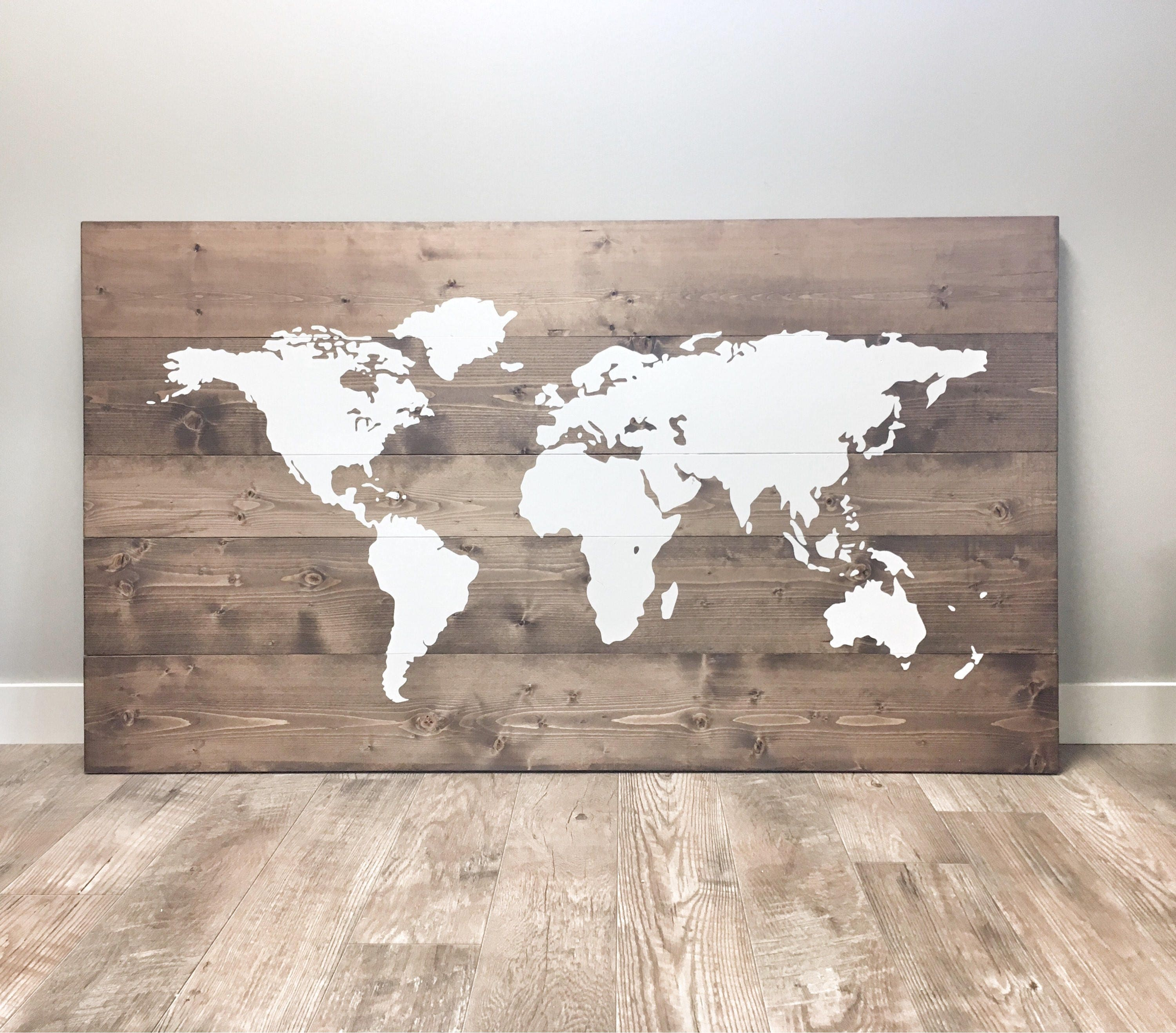 huge rustic wood world map rustic decor farmhouse decor. Black Bedroom Furniture Sets. Home Design Ideas