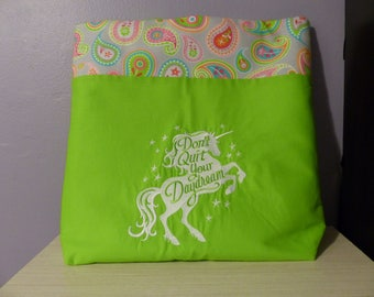 Tote Bag - Embroidered Unicorn and Paisley Green Two-Toned Cotton Bag with Magnetic Closure