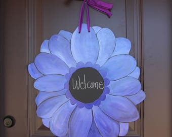 Gerber Daisy/Blue Purple Door Hanger with Chalkboard