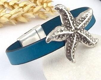 ultramarine blue leather silver Starfish bracelet tutorial Kit