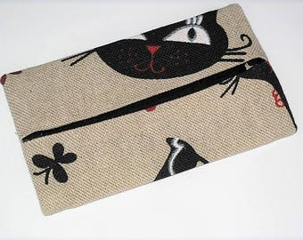 """""""Cats"""" cotton and linen tissue holder case"""