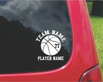 12  Sets (2)  Basketball Sports Decals with custom text Fundraising  20 Colors To Choose From.  U.S.A Free Shipping