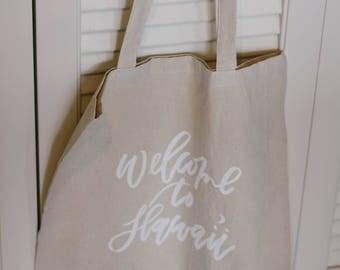 Semi-Custom Calligraphy Linen Tote Bags for Destination Wedding