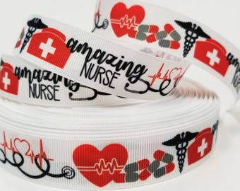 "7/8"" inch Amazing Nurse  -  Printed Grosgrain Ribbon for Hair Bow - Original Design"