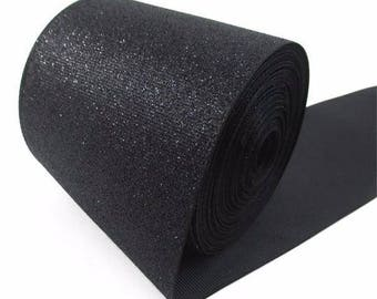 "3 inch Black Glitter Super Sparkle Grosgrain Ribbon for 3 inch Cheer Hair Bow -  Back is Black Grosgrain 3""  3 inch Cheer Hair Bow"