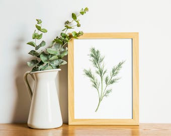 Dill - dill painting - herb painting - dill watercolor - home decor painting - kitchen art - dining room art - food art - herbs - fresh dill