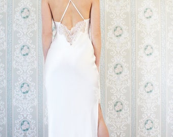 Luxury beautiful bridal and loungewear handmade in England. Chantilly lace and luxury silk ivory night gown dress