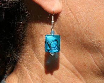 Blue Square earrings