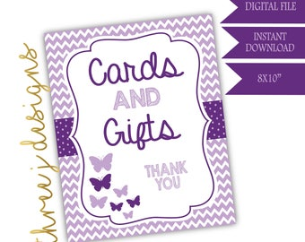 Butterfly Baby Shower Gift and Card Table Sign - INSTANT DOWNLOAD - Plum and Lavender - Digital File - J004