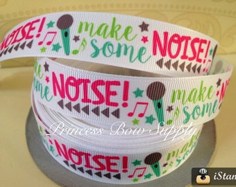 """7/8"""" Make some noise music notes rock n roll hot pink US Designer USDR  heat press grosgrain ribbon yard hair bow supply supplies party"""